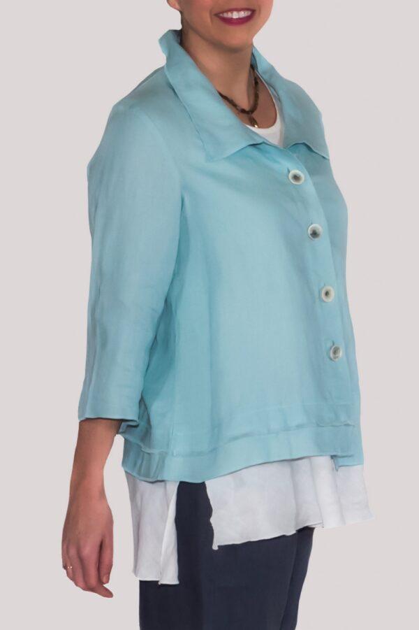 Olivia Shirt Side- Turquoise